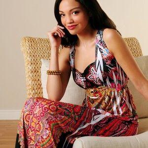 One World Micro Jersey Boho Satin Maxi Dress 1X